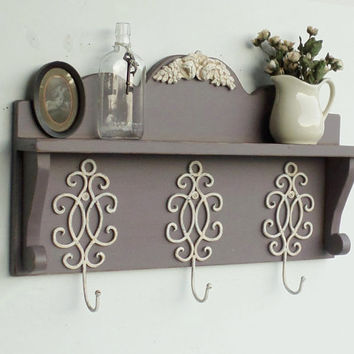 NEW...French Garden Shelf....Wrought Iron Hooks...Coat Rack....Distressed and Aged Gray Grape