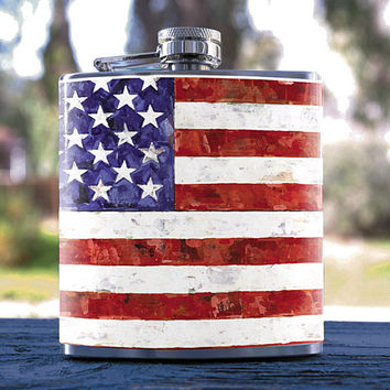 US Flag, American/Patriot 6oz Liquor Flask, for Events, Weddings, Gifts, Birthdays, Bridesmaid, Groomsmen and more!