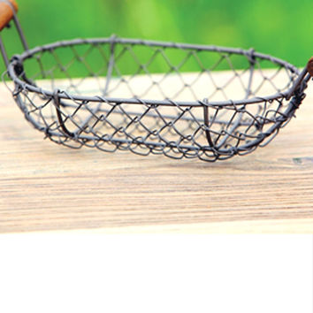 Small Antique Style Wire Basket Decor