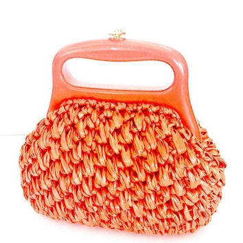 Small Coral Woven Raffia Straw Handbag, Lucite Handle, Labeled Made in Italy for Lanz, Gold Tone Latch, Bright Coral Lining, Vintage 1950s