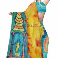 UNM7027-Colorful party multicolor pure tussar silk new beginning modern art sari