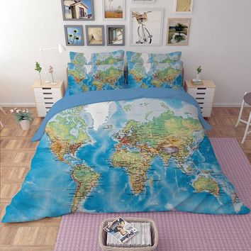 World Map Bedding Sets Duvet Cover Solid Fitted Sheet Pillowcases Queen King Size Multi Sizes 3/4 PCS New Arrival