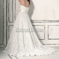 Sweetheart Neckline Lace Wedding Dress/A-line Wedding dress/Sash with A flower/Chapel Train