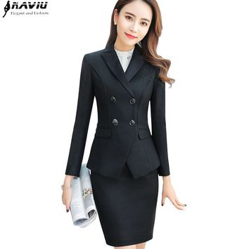 High quality business skirt suits set spring Slim fashion Double Breasted long sleeve blazer and skirt office ladies work wear