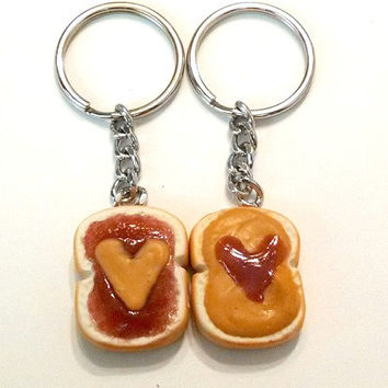Peanut Butter and Jelly Hearts Key Chains, Polymer Clay, Best Friends