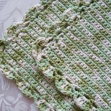 Hand Knit Washcloths - Dishcloths-Set Of Two - Crochet Green Washcloths - Cotton Dishcloths