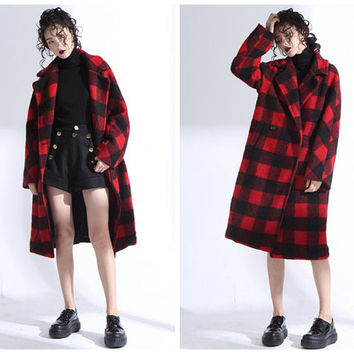 wool coat,plaid coat,plaid jacket,wool jacket,red coat,red jacket,long coat,long jacket,gray coat,oversized coat,gray jacket.--E0803