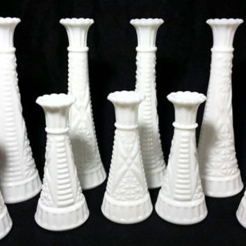 Vintage Milk Glass Bud Vases/Shabby Chic Flower Vase/Cottage Beach Glass Vase/Wedding Flower Vases (Lot of 9)