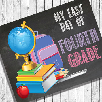 Last Day of School, ALL GRADES Digital Photo Prop, 8x10 Printable Art, end of school, INSTANT Download, Faux Chalkboard
