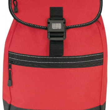 "12"" Drawstring Reflector Backpack With Leather Like Bottom-Red"