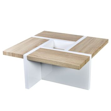 Coffee Table Oak and High Gloss White