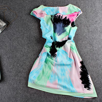 Painted Brush Paint Cap-Sleeve Dress