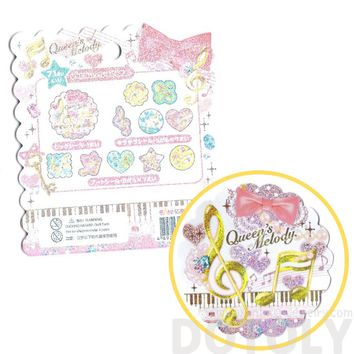 Music Themed Treble Clef Musical Notes Shaped Sticker Flake Seals From Japan | 71 Pieces