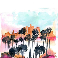 Watercolor Painting Print 'California Summer' -- Home/office decor and wall art, Skyline print