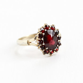 Vintage Gold Washed 900 Silver Garnet Cluster Ring - Size 5 3/4 Dark Red Gem January Birthstone Jewelry