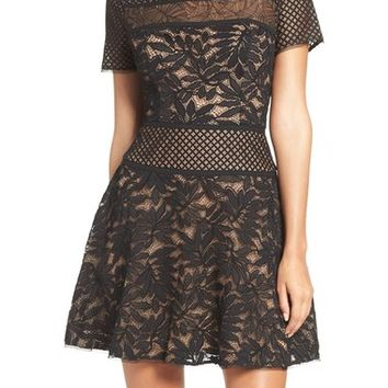 BCBGMAXAZRIA Lace Knit Fit & Flare Dress | Nordstrom
