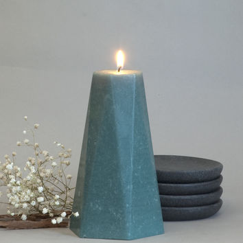 "Teal Pillar Candle Hexagon 6"" Tall"