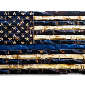 Wood Thin Blue Line Flag 59x32)