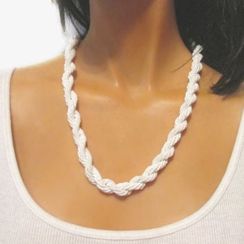 Vintage Rope Bead Necklace, Milk Glass Seed Beads