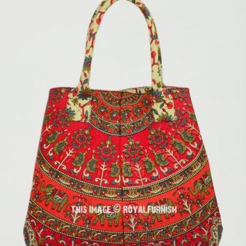 Red Elephant Designer Beach Tote Bag for Women on RoyalFurnish.com