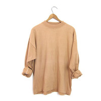 Nude Colored Boxy Shirt Basic Mock Neck long sleeve Cotton Top Slouchy Faded Boho TShirt grunge Plain Beige Tee Unisex Womens Large