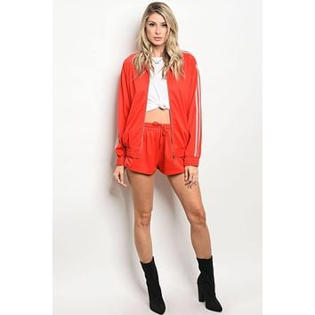 Miss Bossy Jacket And Shorts Matching Set Red