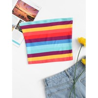 Striped Tube Top Multicolor