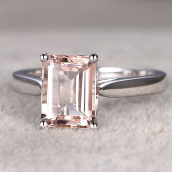 7x9mm Pink Morganite Engagement ring,14k White gold,Solitaire wedding band,Emerald Cut,Bridal Ring,Ball Prong,plain gold,heart underneath