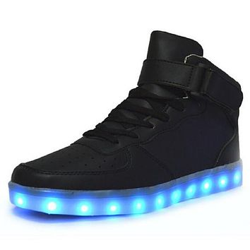 Led Shoes Man USB Light Up Unisex Sneakers Lovers For Adults Boys Casual Students Spor