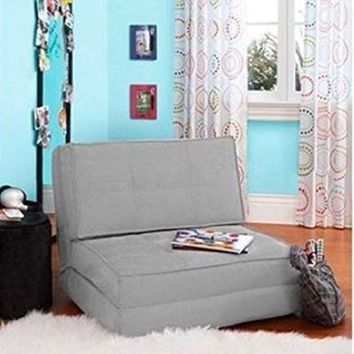 Your Zone - Flip Chair Convertible Sleeper Dorm Bed Couch Lounger Sofa Multi Color New (Grey)