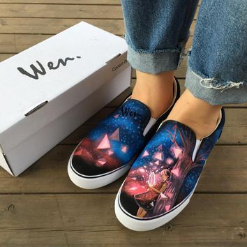 WEN Custom Hand Painted Shoes Design Silent Night The Sky Shining Diamonds Slip On Unique Unisex Canvas Sneakers for Presents