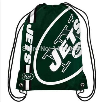 New York Jets wordmack Drawstring Backpack 35x45CM NFL Digital Printing Polyester Custom Sports Backpack, free shipping
