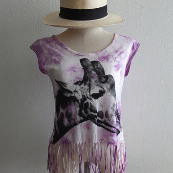 Giraffe Fashion Print Pop Rock Funky Fringed T-Shirt Vest Tank Top