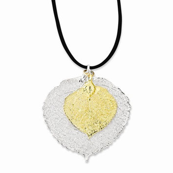 Silve and 24K Gold Dipped Double Aspen Leaf Necklace