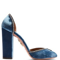 Lou Lou embellished block-heel velvet pumps | Aquazzura | MATCHESFASHION.COM UK
