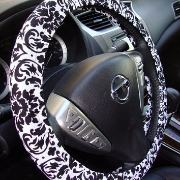 Handmade Steering Wheel Cover Vintage Style Black and White Damask