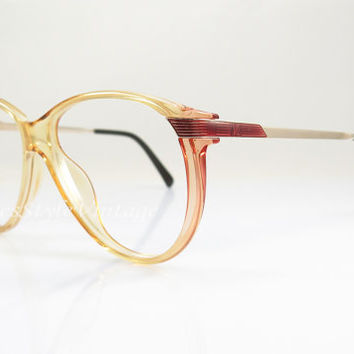 Viennaline , Vintage Eyeglasses , Yellow and Gold , 1980s , Sunglass frames , Geek , Hipster Frames , New Old Stock