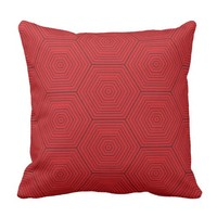 Red and Grey Hexagon Pattern Design #HomeDecor Outdoor Pillow