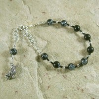 Odin Prayer Bead Bracelet in Snowflake Obsidian: Norse God of War and Battle, Magic, Runes