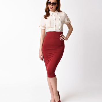 Unique Vintage 1960s Burgundy High Waist Katharine Wiggle Skirt