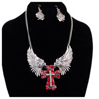 Red Chunky Stone Cross Rhinestone Accented Wing Necklace Set
