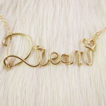 14K Gold Filled Wire Dream Necklace, Cursive Wire Name Necklace, Personalized Wire Name Necklace, Wire Word Necklace