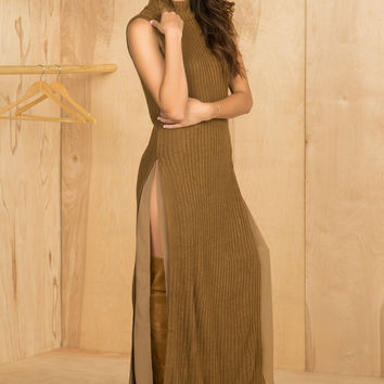 High Slit Sweater Dress (Camel)-FINAL SALE