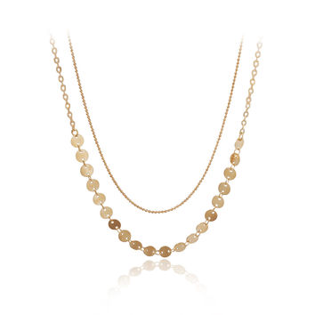 Two Layers Golden Color Chain Necklace