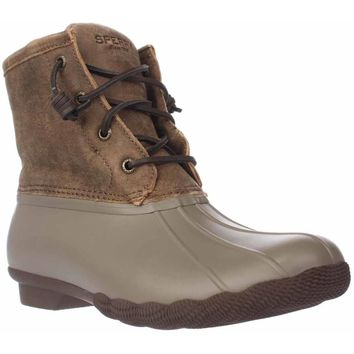 Sperry Saltwater Short Rain Boots, Taupe, 9 US / 40 EU