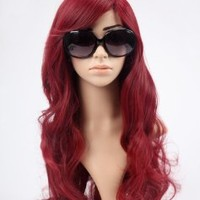 Nicoleshop Beautiful Long Curly Sexy Hair Wig Full Wigs Wine Red + Free Hair Cap