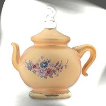 Gold Frosted Desert Crystal Chaton Teapot Ornament with Egyptian Asfour Crystal