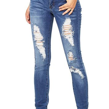 Machine Women's Juniors Mid Rise Distressed Jeans