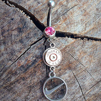 Bullet belly button ring with Nike charm