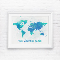 Your Adventure Awaits, World Map, Adventure Awaits, Watercolor World Map, Navy Blue, Mint Nursery Printable, World Map Wall Art Print